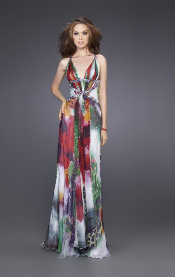 Picture of: Floral Print Dress with Beaded Straps and Open Back, Style: 15689, Main Picture