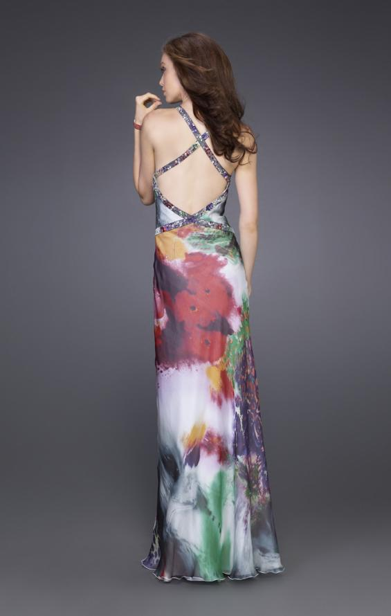 Picture of: Floral Print Dress with Beaded Straps and Open Back, Style: 15689, Back Picture