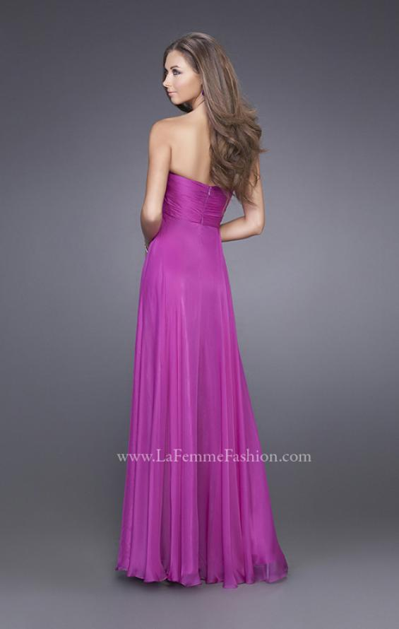 Picture of: Strapless Chiffon Dress with Crystal Broach and Ruching in Purple, Style: 15720, Back Picture