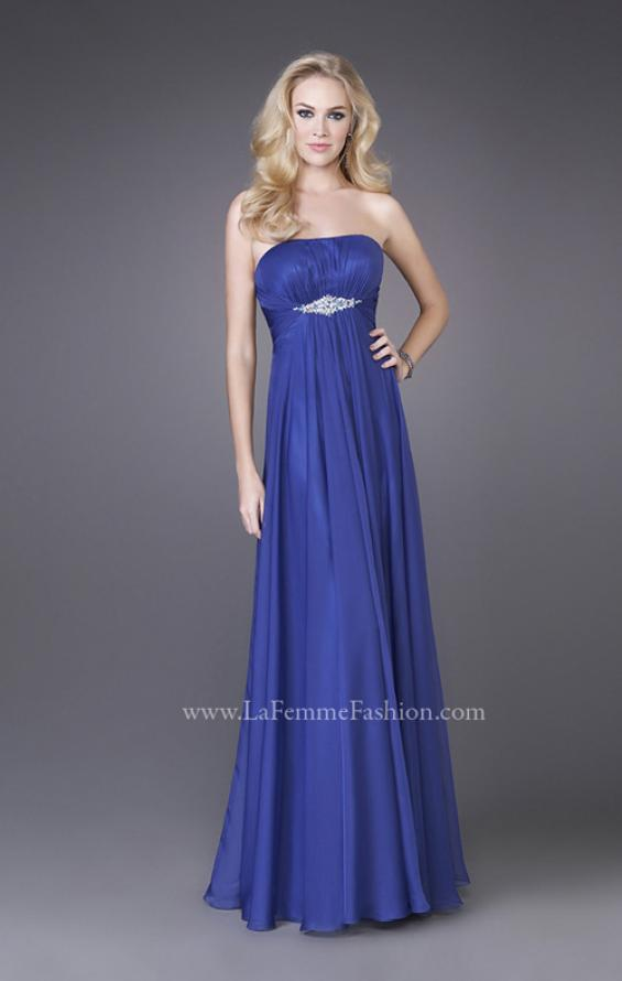 Picture of: Strapless Chiffon Dress with Crystal Broach and Ruching in Blue, Style: 15720, Detail Picture 1