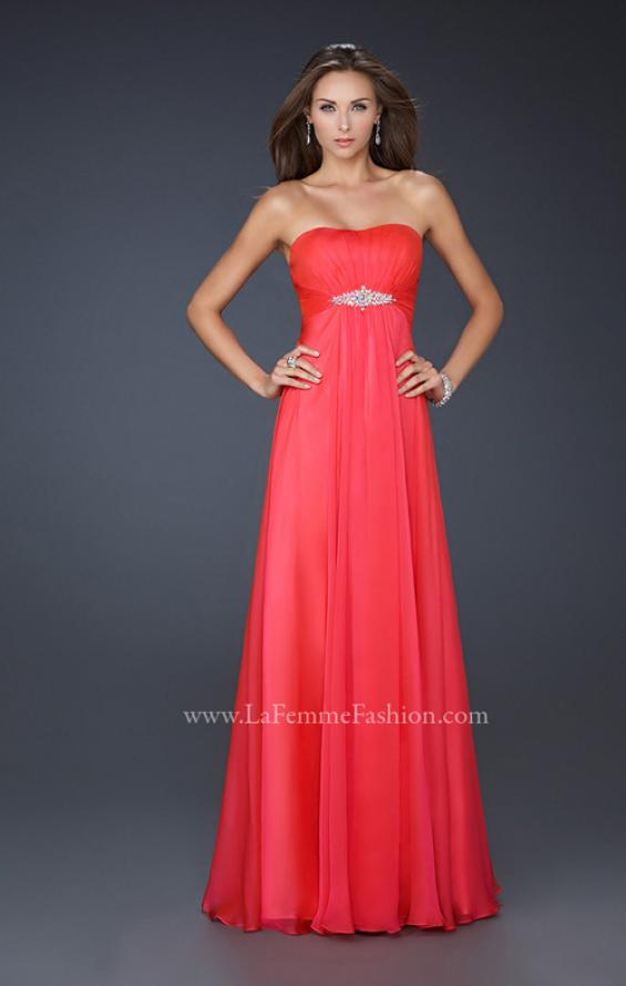 Picture of: Strapless Chiffon Dress with Crystal Broach and Ruching in Red, Style: 15720, Detail Picture 2