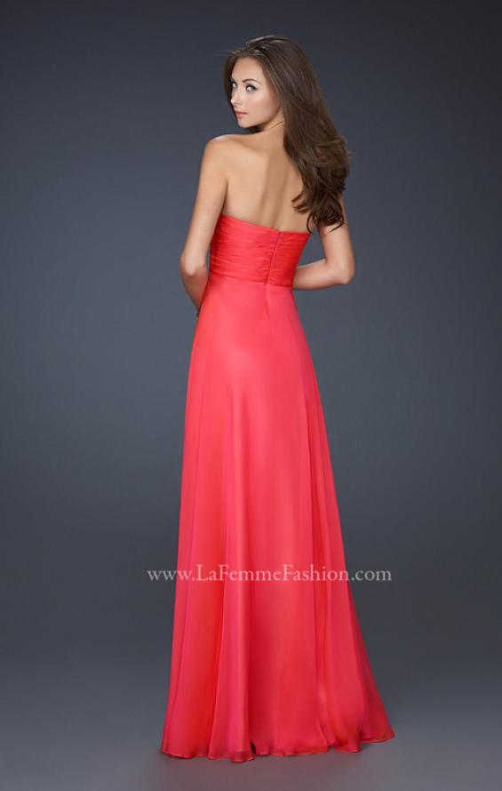Picture of: Strapless Chiffon Dress with Crystal Broach and Ruching in Red, Style: 15720, Detail Picture 3