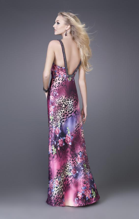 Picture of: Leopard Print Floral Satin Gown with Beaded Straps, Style: 15734, Back Picture