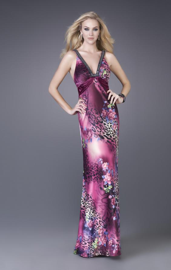 Picture of: Leopard Print Floral Satin Gown with Beaded Straps, Style: 15734, Detail Picture 1