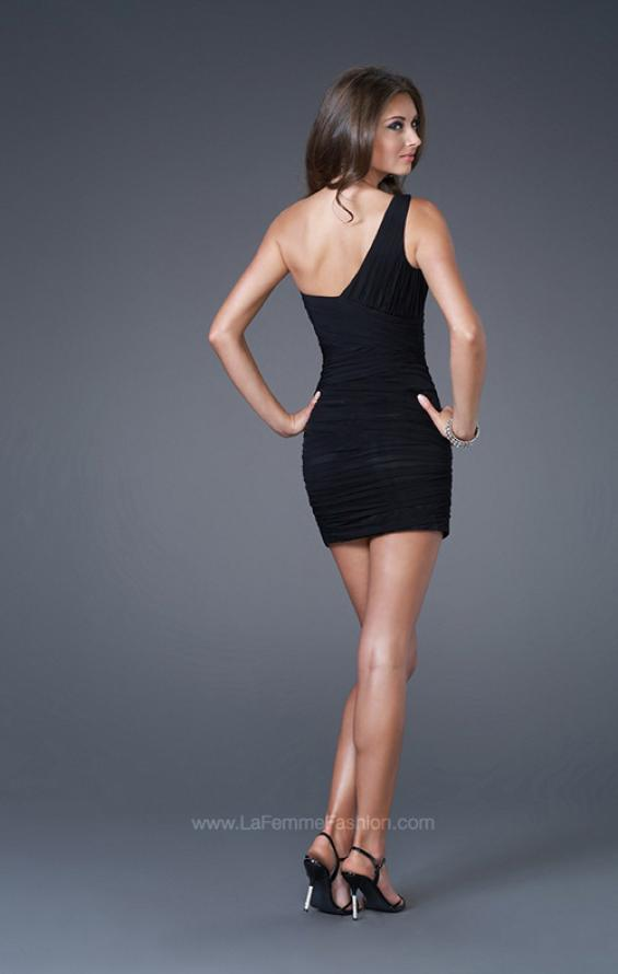 Picture of: Form Fitting One Shoulder Short Dress in Black, Style: 15833, Back Picture
