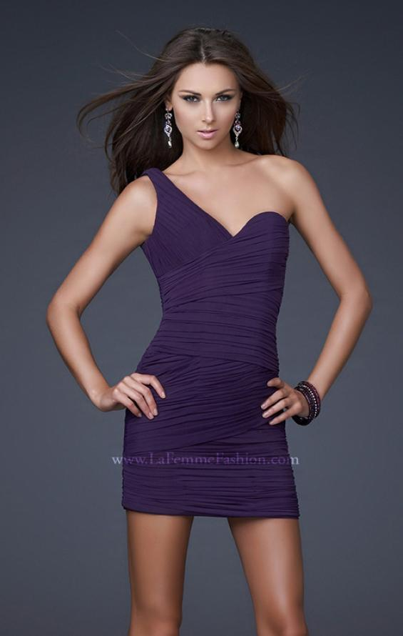 Picture of: Form Fitting One Shoulder Short Dress in Purple, Style: 15833, Detail Picture 1