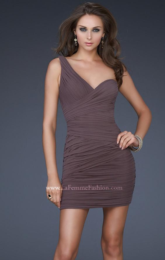 Picture of: Form Fitting One Shoulder Short Dress in Charcoal, Style: 15833, Detail Picture 2