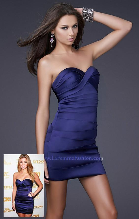 Picture of: Form Fitting Pleated Dress with Sweetheart Neck in Blue, Style: 15841, Main Picture