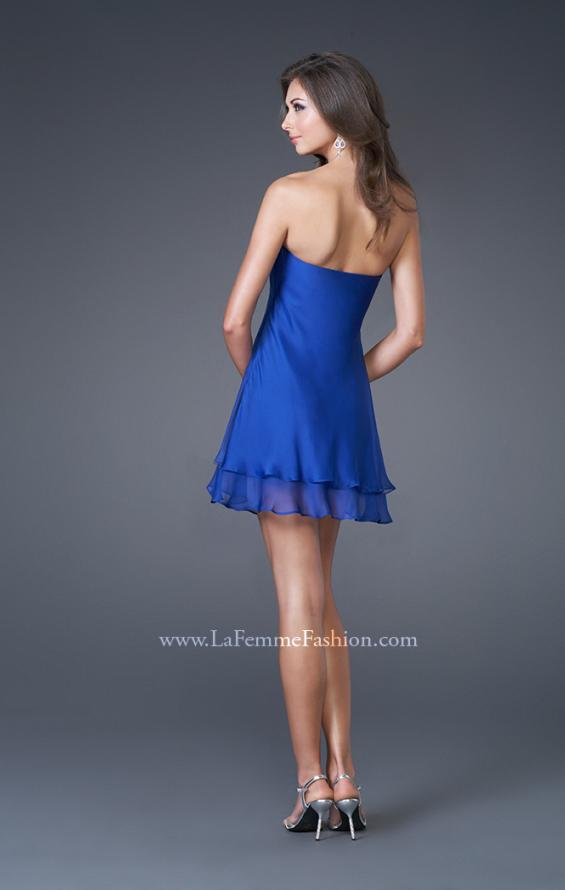 Picture of: Short Strapless Dress with Beading and Ruffle Layers, Style: 15853, Back Picture