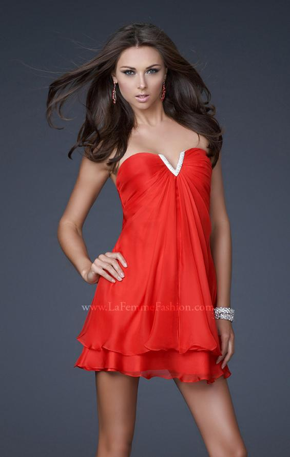 Picture of: Short Strapless Dress with Beading and Ruffle Layers, Style: 15853, Detail Picture 2