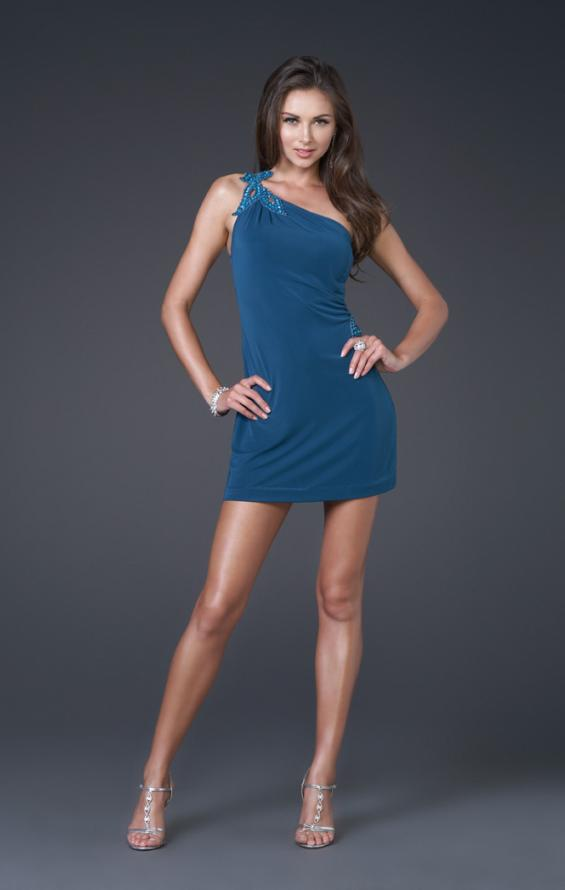 Picture of: Leaf Design Short Jersey Dress with Shoulder Beading in Teal, Style: 15855, Back Picture