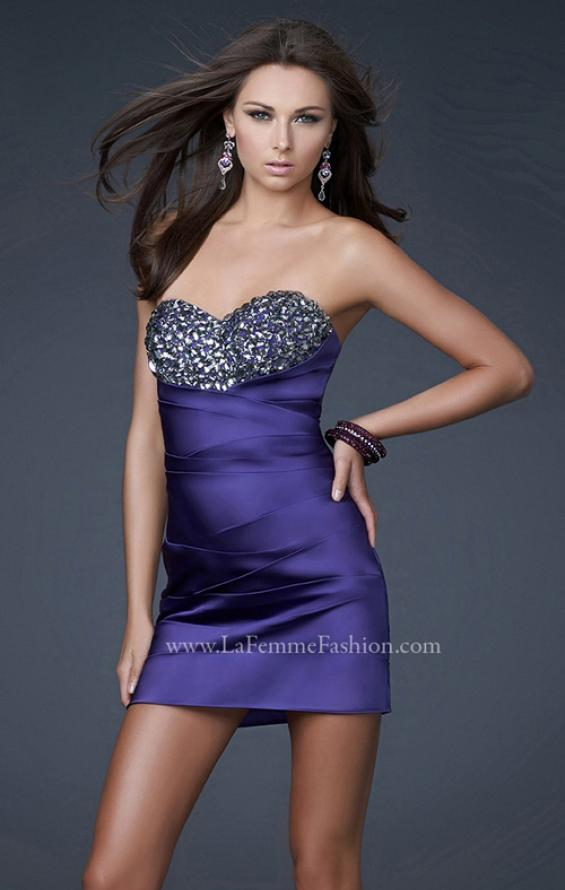 Picture of: Strapless Stretch Satin Prom Dress in Purple, Style: 15858, Main Picture