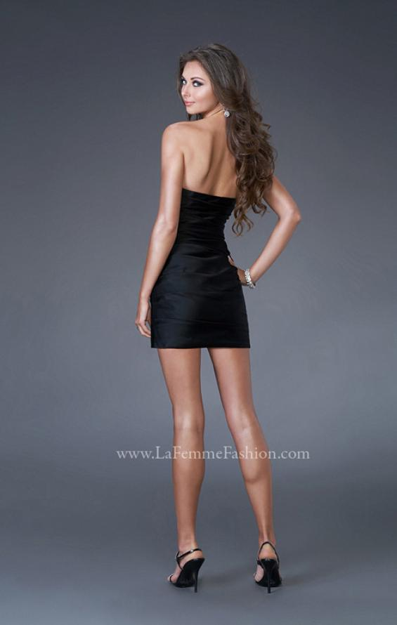 Picture of: Strapless Stretch Satin Prom Dress in Black, Style: 15858, Back Picture
