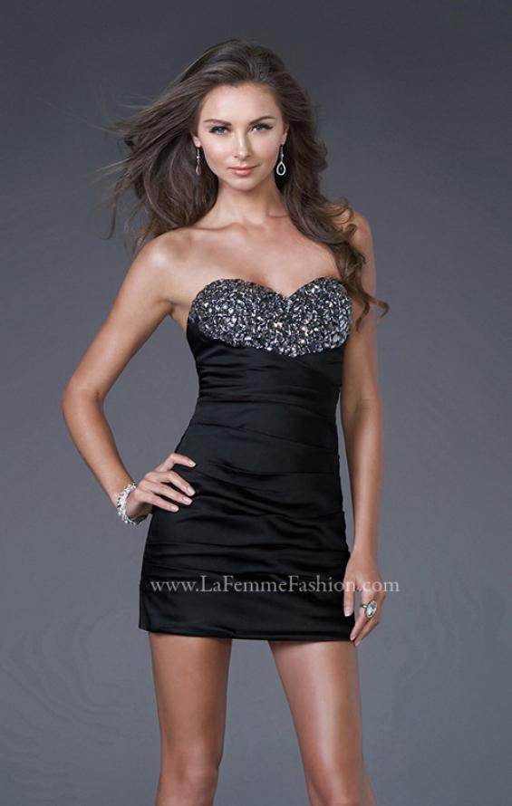 Picture of: Strapless Stretch Satin Prom Dress in Black, Style: 15858, Detail Picture 1
