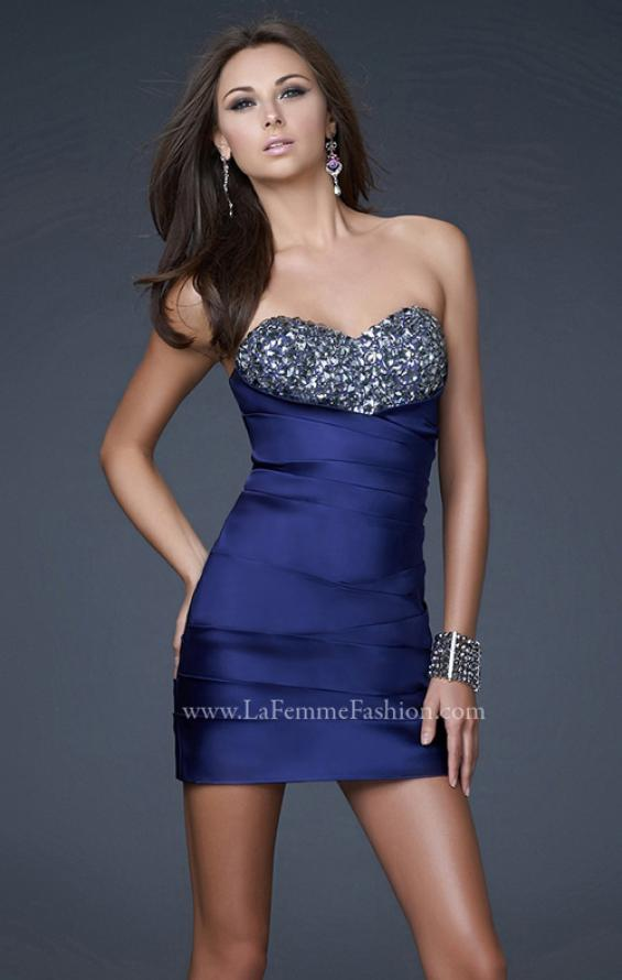 Picture of: Strapless Stretch Satin Prom Dress in Blue, Style: 15858, Detail Picture 2