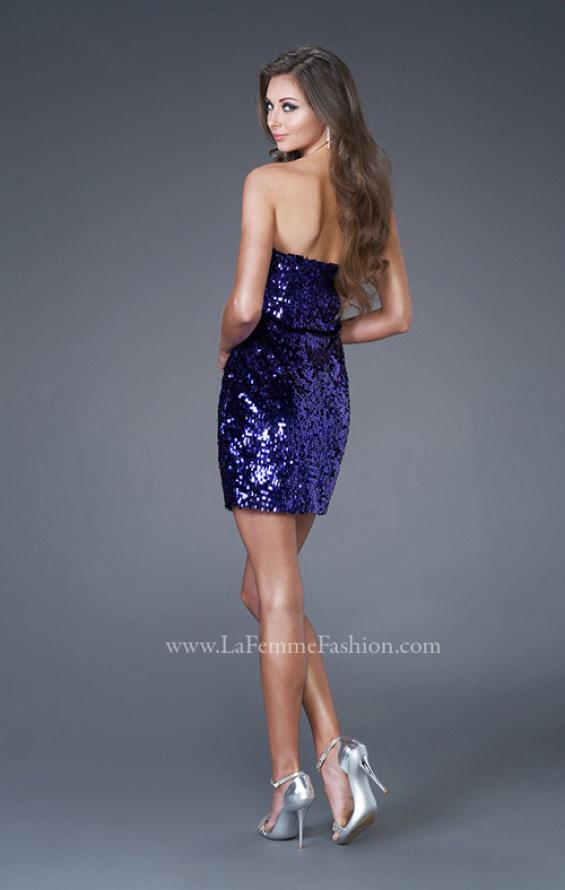 Picture of: Strapless Sequined Dress with Form Fitting Bodice in Purple, Style: 15863, Back Picture