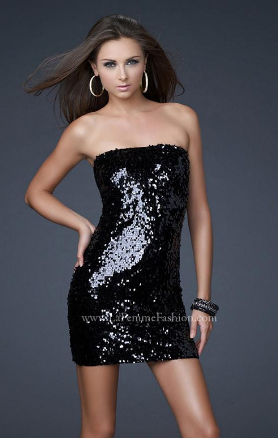 Picture of: Strapless Sequined Dress with Form Fitting Bodice in Black, Style: 15863, Detail Picture 2