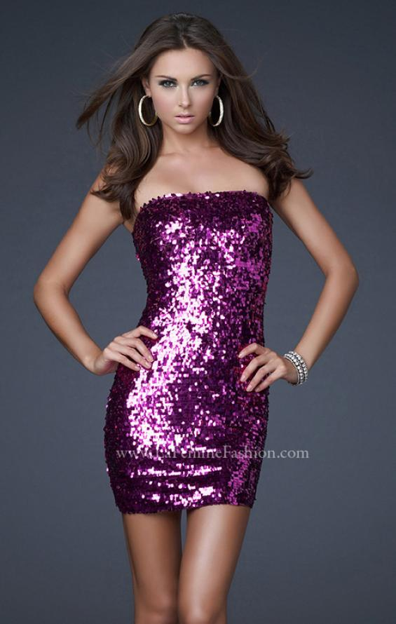 Picture of: Strapless Sequined Dress with Form Fitting Bodice in Pink, Style: 15863, Detail Picture 3