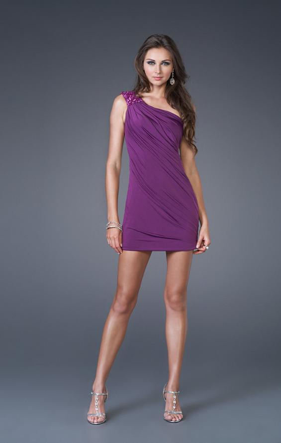 Picture of: Sultry One Shoulder Prom Dress with Beading in Purple, Style: 15887, Main Picture