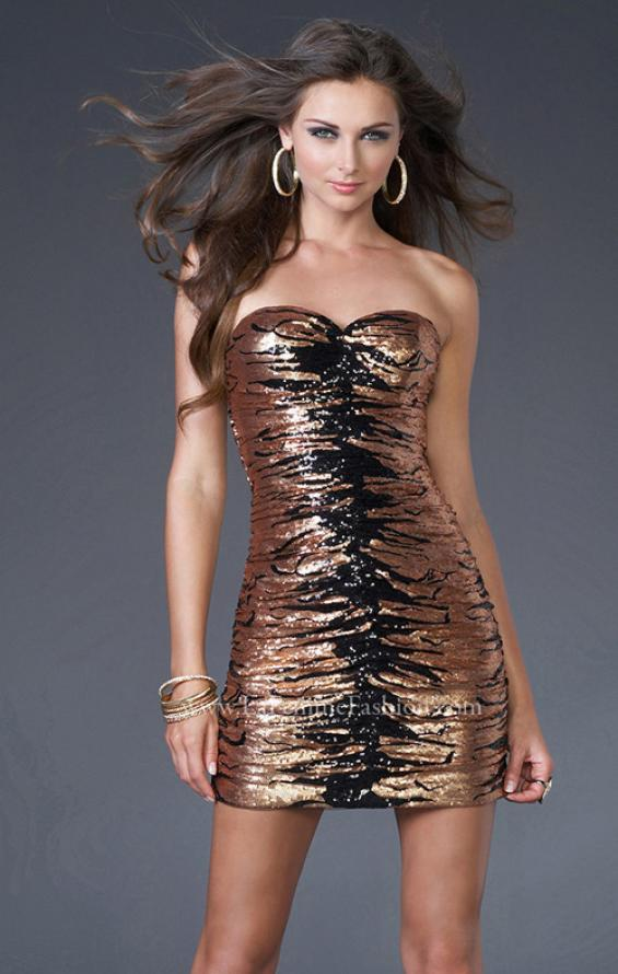 Picture of: Sequined Cocktail Dress with Form Fitting Shape in Gold, Style: 15890, Main Picture