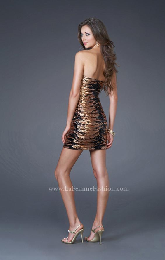 Picture of: Sequined Cocktail Dress with Form Fitting Shape in Gold, Style: 15890, Back Picture