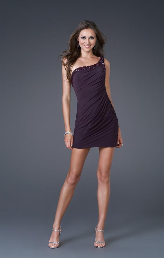 Picture of: Short Jersey Dress with Crystal Embellished Straps, Style: 15893, Main Picture