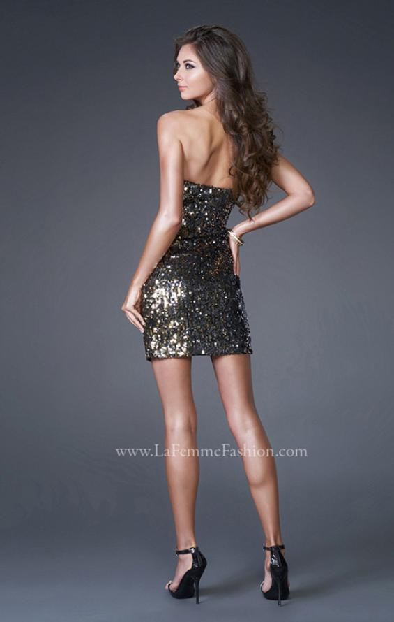 Picture of: Trendy Mini Strapless Sequined Short Dress, Style: 15943, Back Picture