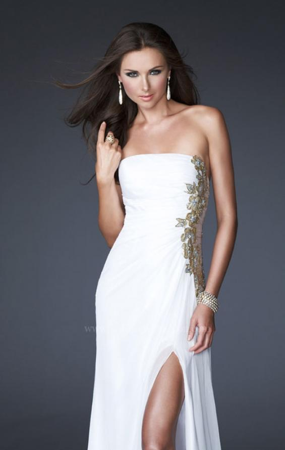 Picture of: Strapless Prom Dress with Sheer Embellished Detail in Blue, Style: 15985, Main Picture