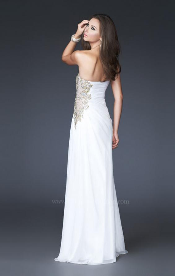 Picture of: Strapless Prom Dress with Sheer Embellished Detail in White, Style: 15985, Back Picture