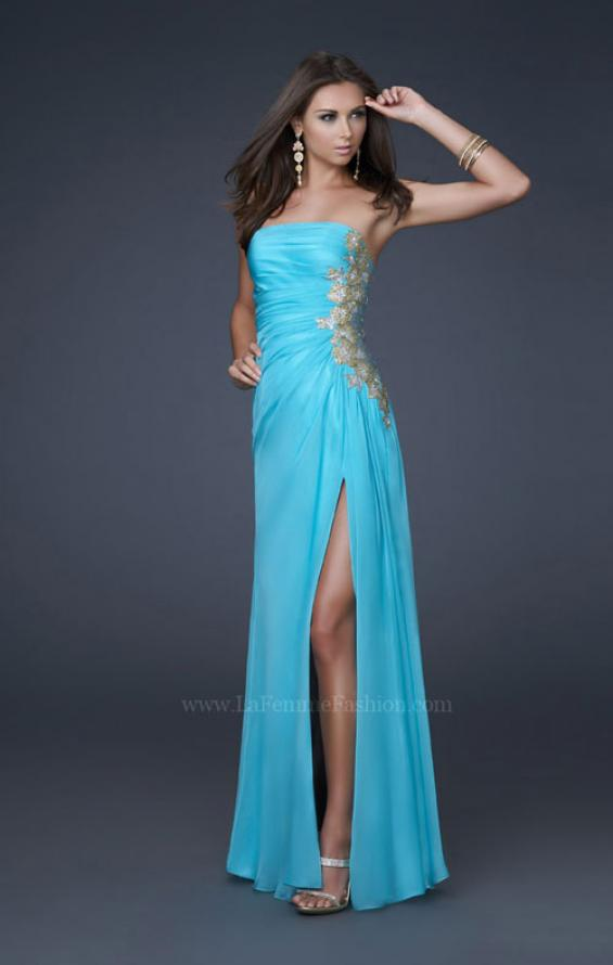 Picture of: Strapless Prom Dress with Sheer Embellished Detail in White, Style: 15985, Detail Picture 1