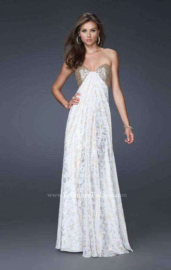 Picture of: Long Printed Strapless Prom Gown with Sequins in White, Style: 15991, Main Picture