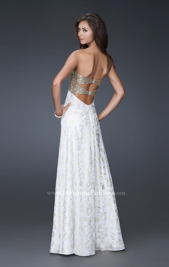 Picture of: Long Printed Strapless Prom Gown with Sequins in White, Style: 15991, Back Picture