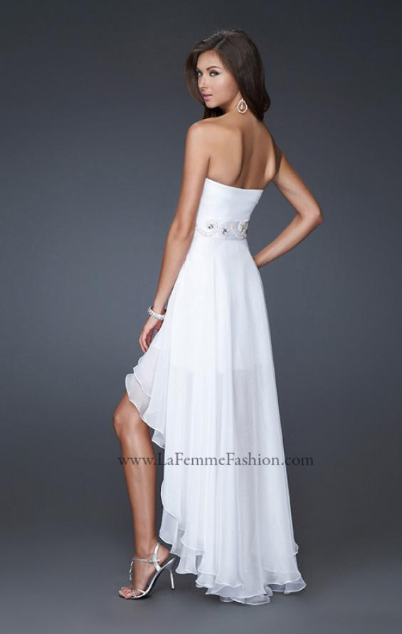 Picture of: Strapless High Low Gown with Beaded Waistline, Style: 16037, Back Picture