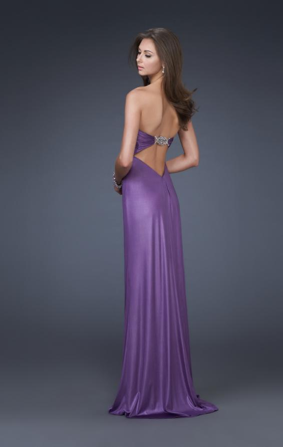 Picture of: Sweetheart Neckline Pleated Gown with Crystal Brooch, Style: 16087, Back Picture