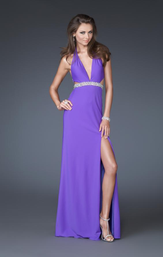 Picture of: Deep V Halter Dress with Embellished Waist and Back in Purple, Style: 16093, Main Picture