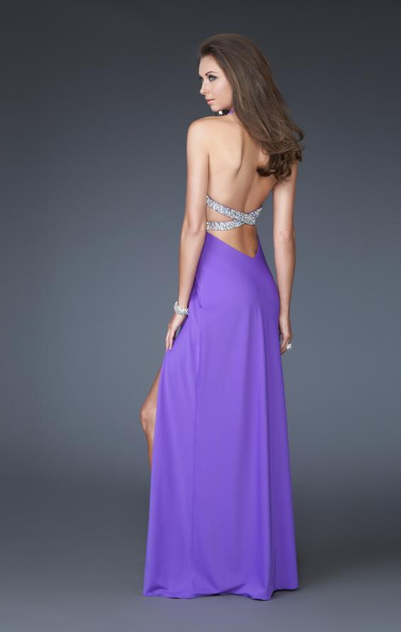 Picture of: Deep V Halter Dress with Embellished Waist and Back in Purple, Style: 16093, Back Picture
