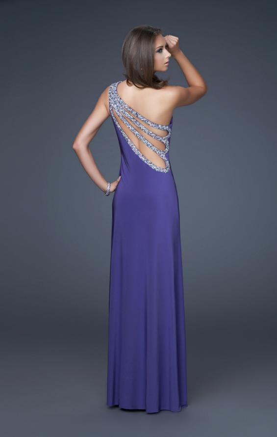 Picture of: One Shoulder Jersey Prom Gown with Beaded Straps, Style: 16101, Main Picture