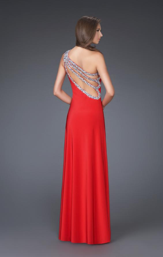 Picture of: One Shoulder Jersey Prom Gown with Beaded Straps, Style: 16101, Back Picture