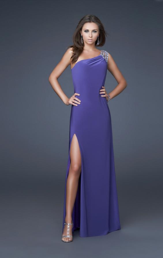 Picture of: One Shoulder Jersey Prom Gown with Beaded Straps, Style: 16101, Detail Picture 1