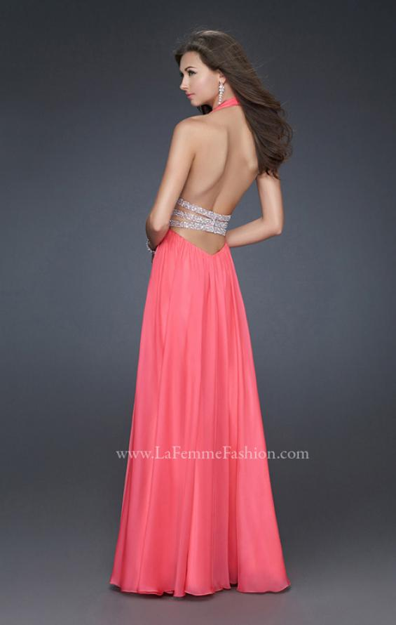 Picture of: Chiffon Halter Gown with Fitted Bodice and A-line Skirt in Hot Pink, Style: 16123, Back Picture