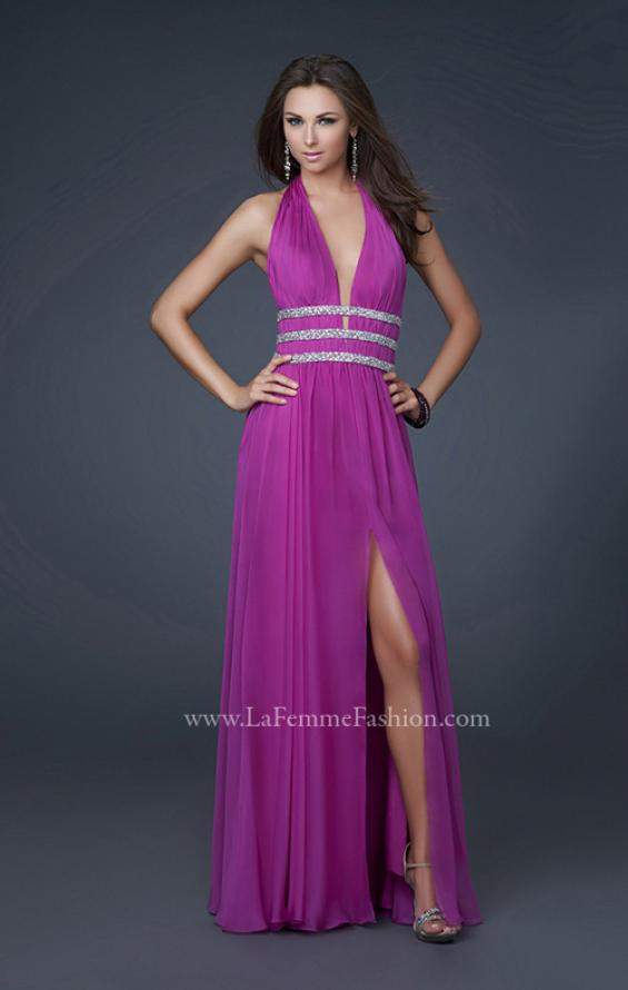 Picture of: Chiffon Halter Gown with Fitted Bodice and A-line Skirt in Purple, Style: 16123, Detail Picture 1