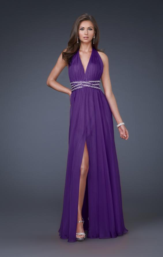 Picture of: Deep V Neck Halter Chiffon Dress with Beaded Detail in Purple, Style: 16147, Main Picture