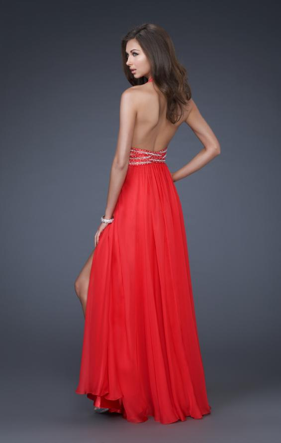 Picture of: Deep V Neck Halter Chiffon Dress with Beaded Detail in Red, Style: 16147, Back Picture