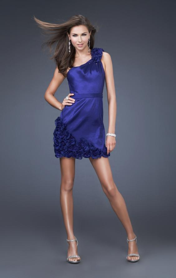 Picture of: Floral Embellished One Shoulder Short Dress in Blue, Style: 16155, Main Picture
