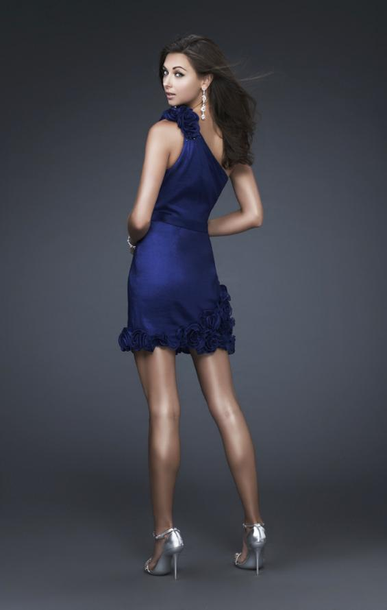 Picture of: Floral Embellished One Shoulder Short Dress in Blue, Style: 16155, Back Picture