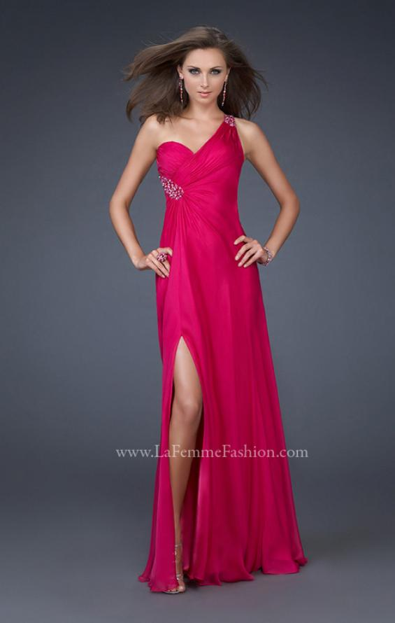 Picture of: One Shoulder Chiffon Gown with Beading and Gatherings, Style: 16206, Main Picture