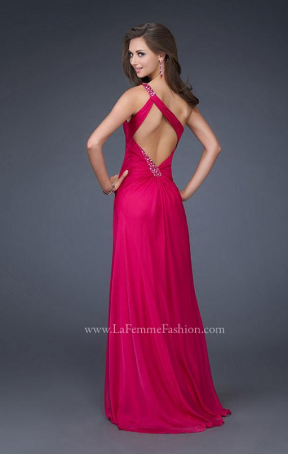 Picture of: One Shoulder Chiffon Gown with Beading and Gatherings, Style: 16206, Back Picture