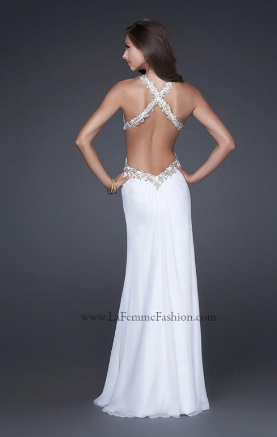 Picture of: V Neck Chiffon Gown with Hand Painted Leaf Pattern in White, Style: 16288, Back Picture