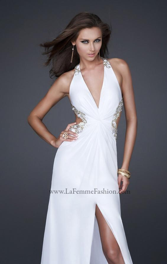Picture of: V Neck Chiffon Gown with Hand Painted Leaf Pattern in White, Style: 16288, Detail Picture 1
