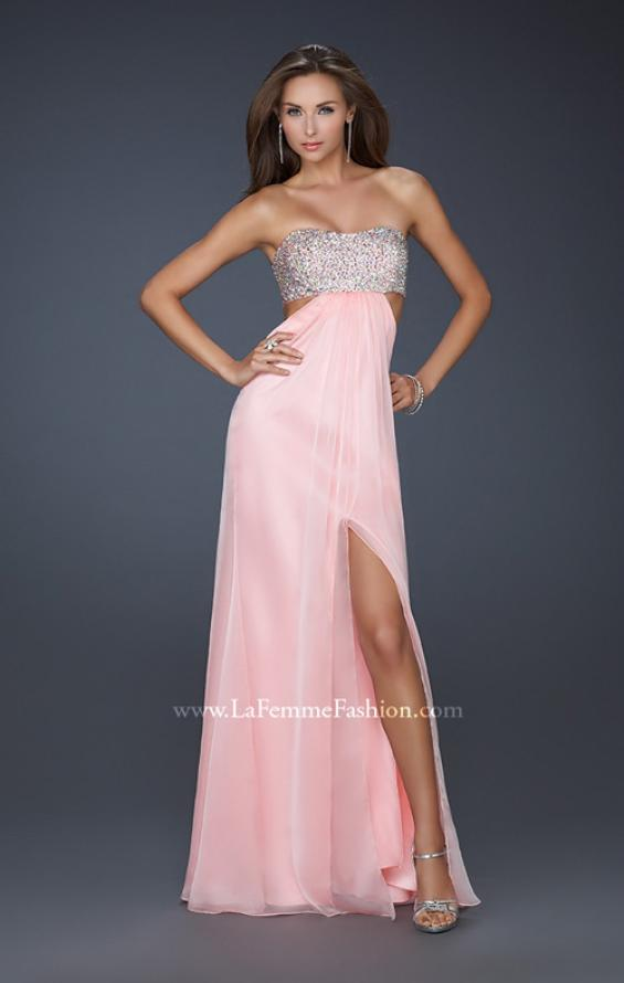 Picture of: Strapless Chiffon Gown with Beaded Bodice, Style: 16291, Detail Picture 1